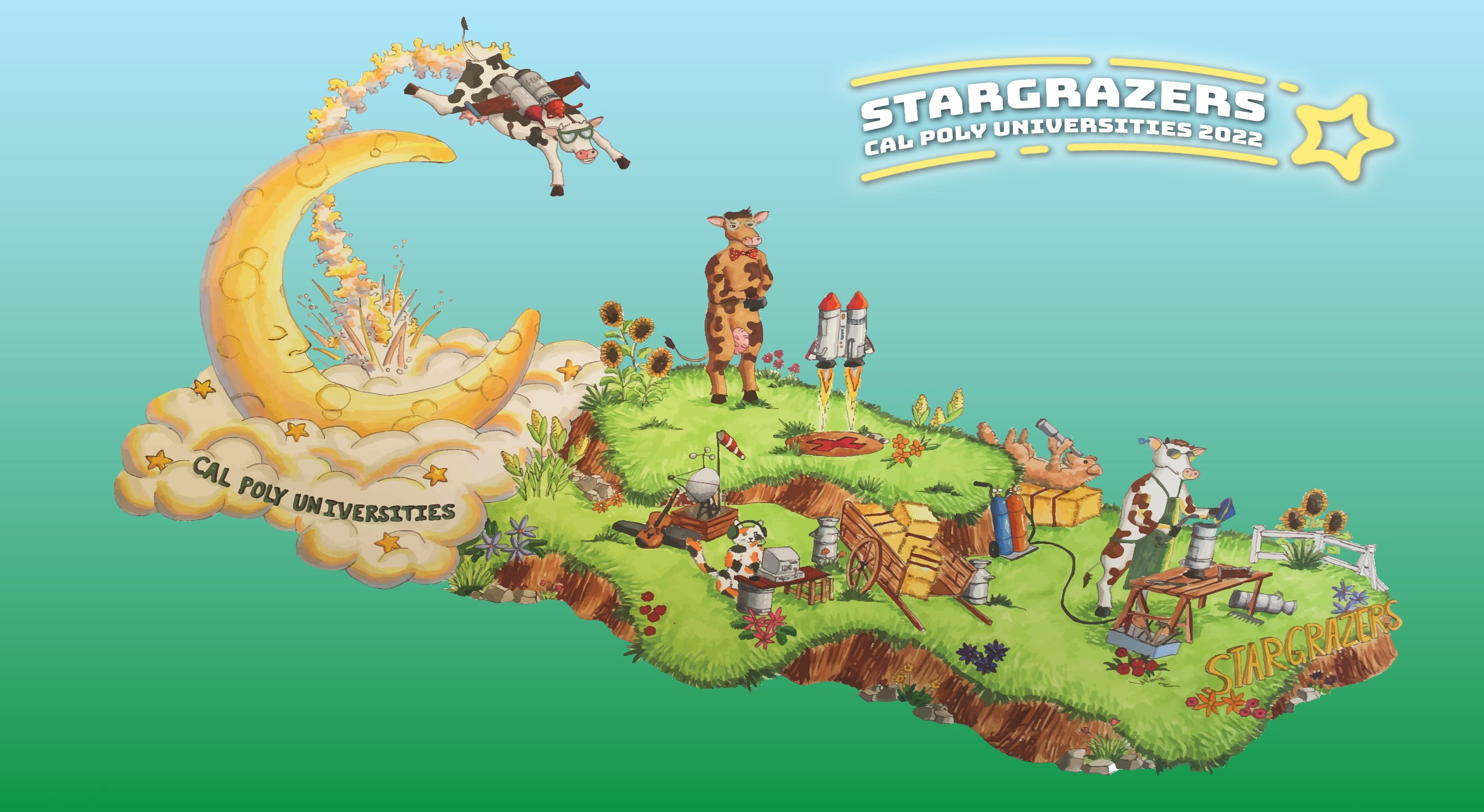 Cal Poly universities' 2022 Tournament of Roses Parade Float rendering.